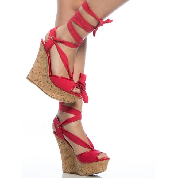 Shoes - Pamela Red  Cork Platform Lace Up Wedge